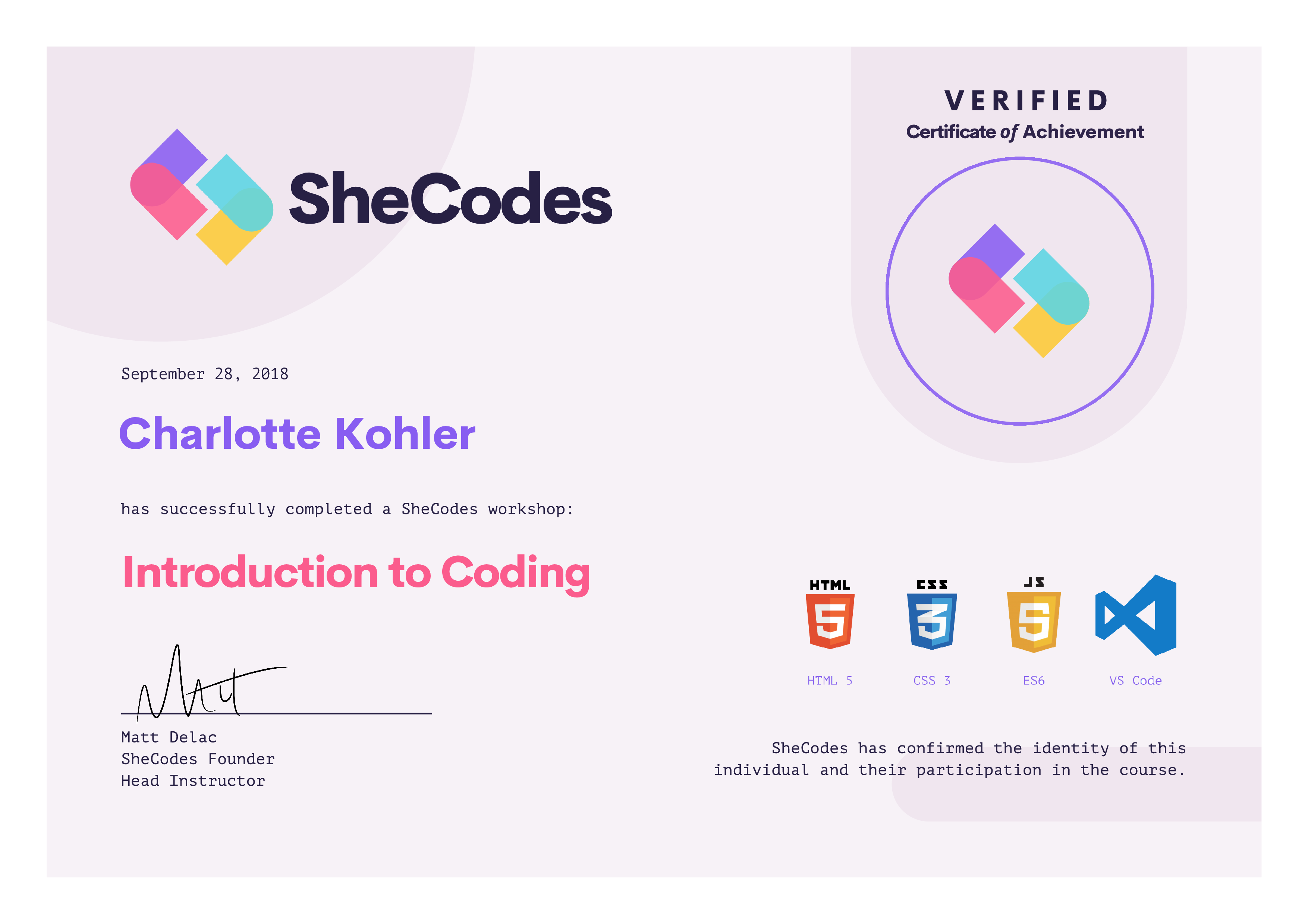 SheCodes Certificate